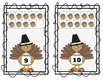 Thanksgiving 10 Frame Counting Mats Bundle Set (1-20)