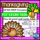 Thanksgiving Activities Kindergarten: Thanksgiving Math and Language Worksheets