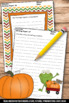 Fall or Thanksgiving Writing Papers for Literacy Center Activities ELA ESL