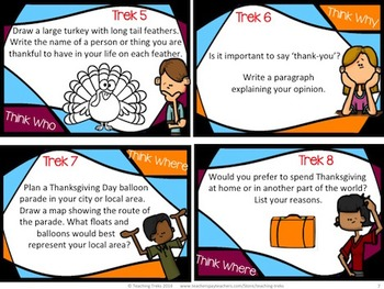 Thanksgiving Activities: Thanksgiving Task Cards Creative and Critical Thinking
