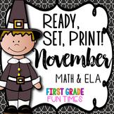 Thanksgiving Ready, Set, Print ELA and Math Thanksgiving Activities