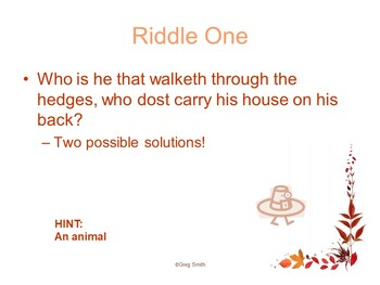Thanksgiving Riddles PowerPoint