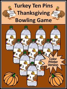 Thanksgiving Activities: Turkey Ten Pins Thanksgiving Game