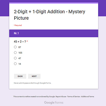 Thanksgiving: 2-Digit + 1-Digit Addition - Mystery Picture - Google Forms