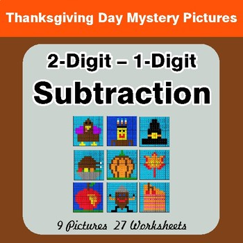 Thanksgiving: 2-Digit - 1-Digit Subtraction - Color-By-Number Math Mystery Pictures