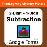 Thanksgiving: 2-Digit - 1-Digit Subtraction - Mystery Pict