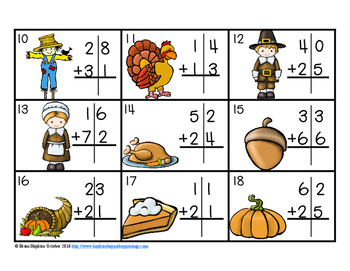 Thanksgiving 2 Digit Addition Without Regrouping Task Cards