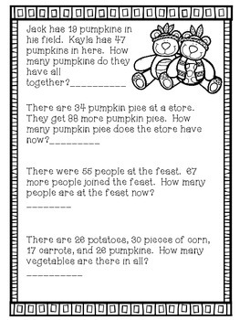 Thanksgiving 2-Digit Addition Word Problems