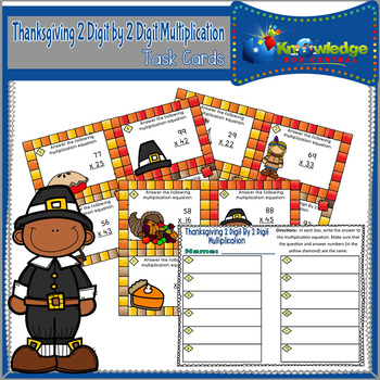 Thanksgiving 2 Digit By 2 Digit Multiplication Task Cards With Response Sheet