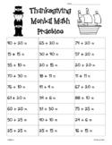 Thanksgiving 2-Digit Mental Math Addition Practice Worksheet