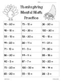 Thanksgiving 2-Digit Mental Math Subtraction Worksheet