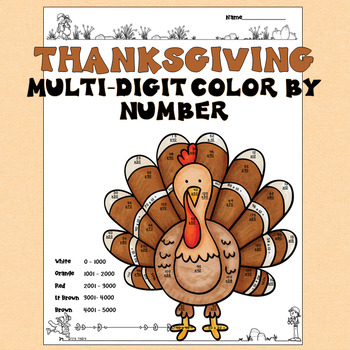 2 Digit Multiplication Color by Number Thanksgiving