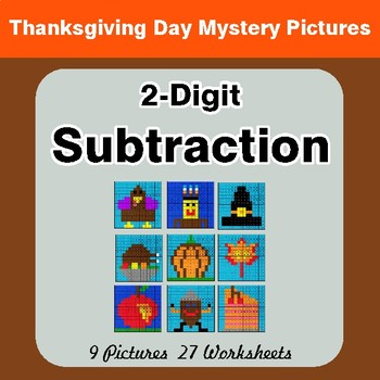 Thanksgiving: 2-Digit Subtraction - Color-By-Number Math Mystery Pictures