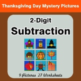 2-Digit Subtraction - Color-By-Number Thanksgiving Math Mystery Pictures