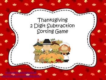 Thanksgiving 2 Digit Subtraction Sort