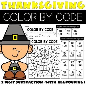 Thanksgiving 2 Digit Subtraction With Regrouping