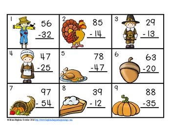 Thanksgiving 2 Digit Subtraction Without Regrouping Task Cards