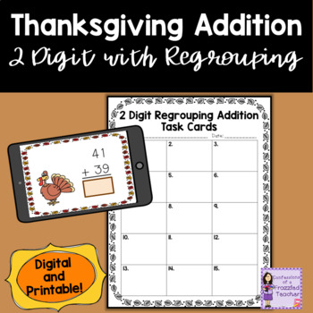 Thanksgiving 2 Digit With Regrouping Task Cards