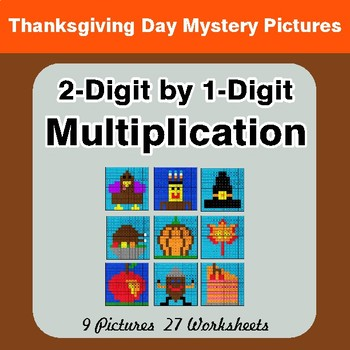 Thanksgiving: 2-Digit by 1-Digit Multiplication Color-By-Number Mystery Pictures