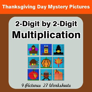 Thanksgiving: 2-Digit by 2-Digit Multiplication Color-By-Number Mystery Pictures