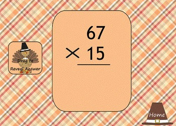 Thanksgiving 2 Digit by 2 Digit Multiplication SMART Board Game