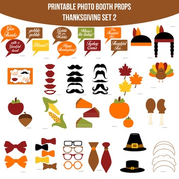 Thanksgiving 2 Printable Photo Booth Prop Set