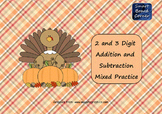 Thanksgiving 2 and 3 Digit Addition and Subtraction SMART Board Lesson