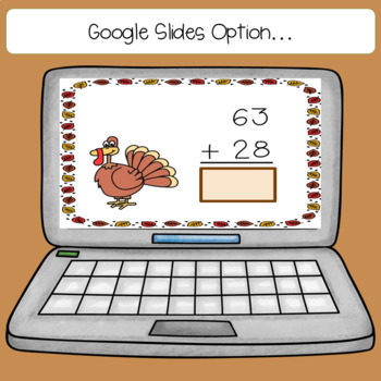 Thanksgiving 2 and 3 Digit Addition with Regrouping Task Card Bundle