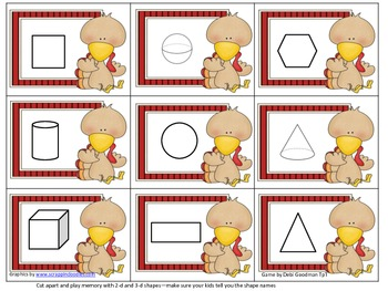 Thanksgiving 2-d and 3-d Shape Memory Game