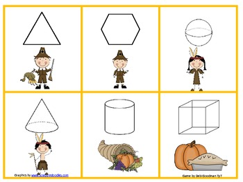 Thanksgiving 2-d and 3-d shape game