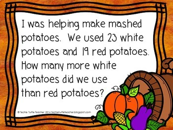 Thanksgiving 2-digit Addition and Subtraction Word Problems PPT