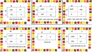 Thanksgiving 2 digit by 1 digit and 2 digit by 2 digit match up