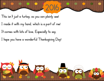 Thanksgiving 2016 Turkey Handprint Poem With an Owl Theme