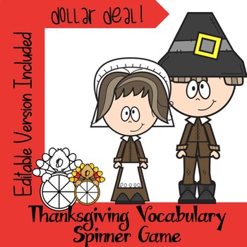 Thanksgiving 2018 Vocabulary Spinner Game-Editable Version Included Dollar Deal