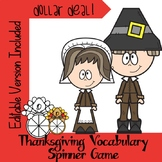 Thanksgiving 2019 Vocabulary Spinner Game-Editable Version Included Dollar Deal