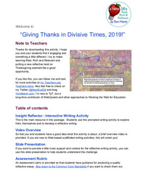 Thanksgiving 2019 - Interactive Reflective Writing