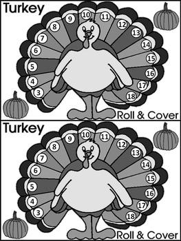 Thanksgiving Math Activities: Thanksgiving Turkey Roll & Cover Math Activity