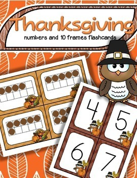 Thanksgiving Numbers and Matching 10-Frames Flashcards 0-20 FREE