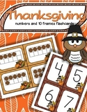 Thanksgiving Center Matching Numbers and 10-Frames Flashcards 0-20
