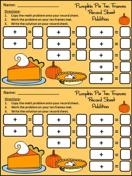Thanksgiving Math Activities: Pumpkin Pie Thanksgiving Ten Frames Math Activity