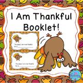 I Am Thankful For - Thanksgiving Writing Thanksgiving ESL