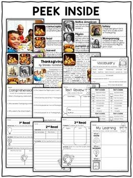 Thanksgiving Activities Nonfiction Unit