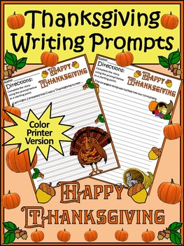 Thanksgiving Writing Activities: Thanksgiving Writing Prompts Activity Packet