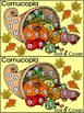 Thanksgiving Math Activities: Harvest Cornucopia Roll & Cover Activity - Color