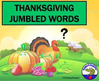 Thanksgiving PowerPoint Game - Jumbled Words- No Prep Fun