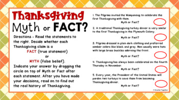 Thanksgiving - Myth or Fact? - Reading Comprehension