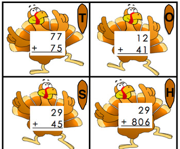 Thanksgiving 2nd 3rd Math Center Crack the Code 2 3 Digit Addition Subtraction