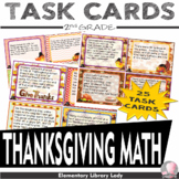 Thanksgiving 2nd Grade Math Word Problems Task Flash Cards- Common Core 2.OA.A.1