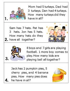 Thanksgiving 3 Addend Word Problems