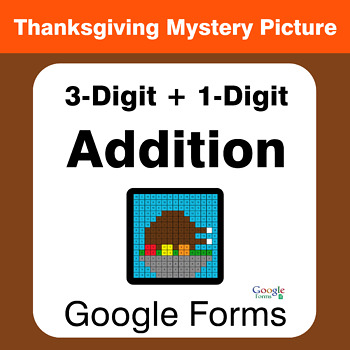 Thanksgiving: 3-Digit + 1-Digit Addition - Mystery Picture - Google Forms